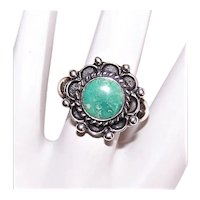 Native American Sterling Silver Natural Turquoise Ring