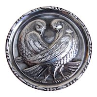 Danish Modern Sterling Silver Pin Brooch - 2 Doves or Love Birds within a Large Round