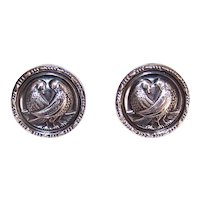 Danish Modern Sterling Silver Pierced Earrings - 2 Doves or Love Birds within a Round