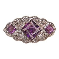 Art Deco Silver Tone Metal Purple Rhinestone Filigree Costume Pin Brooch