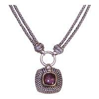 Gabrielle Bruni Sterling Silver 18K Gold Amethyst Pendant Necklace - Popcorn Chain