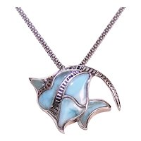 Sterling Silver Larimar Stone Angel Fish Pendant