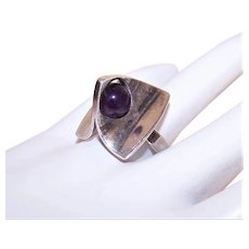 Poul Warmind Denmark Sterling Silver Amethyst Op Art Abstract Ring