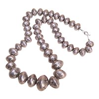 Signed Sterling Silver Stamped Native American Navajo Beads Navajo Pearls Necklace - 11mm to 19.5mm - 101.9 Grams