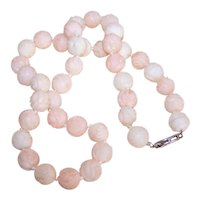 Estate 1950s Hand Carved Pink Cream Angel Skin Coral Bead Necklace with 14K Gold Clasp