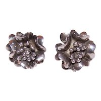 Sterling Silver Screwback Earrings - Florals with Center Stamens