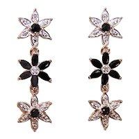 Ross Simons Sterling Silver Vermeil Diamond & Sapphire Drop Earrings | Daisies | Pierced Earrings