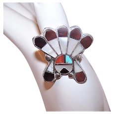 Zuni Sterling Silver Turquoise Coral Stone Inlay Indian Chief Sun Face Ring - Size 7 - Native American