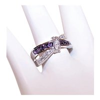 Sterling Silver Purple/White Cubic Zirconia CZ Cocktail Ring