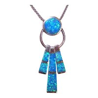 Sterling Silver Lab Created Opal Inlay Drop Pendant