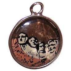 Hoffman Sterling Silver Reverse Painted Charm - Mount Rushmore