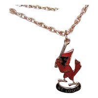 14K Gold Enamel Charm - St Louis Cardinals - Cardinal Swinging a Bat