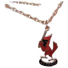 14K Gold Enamel Charm - St Louis Cardinals - Cardinal Swinging a Bat