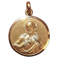 French 18K Gold Religious Medal Pendant or Charm - Jesus Christ - Our Lady of the Scapular - Virgin Mary - Infant Jesus - 8.9 Grams