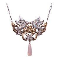 Gorham Sterling Silver Rose Quartz Necklace - 2 Love Birds with Florals - Yellow Gold Vermeil