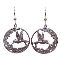 Sterling Silver Earrings - Hummingbirds and Flowers - Shepherd Hook Findings - Pierced Earrings