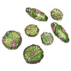 6 Vintage Italian Wedding Cake Glass Beads | Green & Pink | Ornate Design