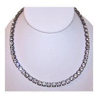 Vintage Sterling Silver Single Line Rhinestone Necklace