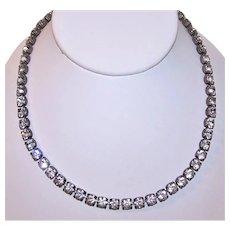 Vintage Sterling Silver Single Line Rhinestone Necklace