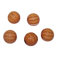 5 Vintage Butterscotch Bakelite Carved Buttons | Shank Back