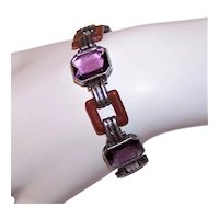 "Art Deco Sterling Silver Amethyst Carnelian Glass Paste 6.25"" Link Bracelet"