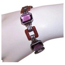 """Art Deco Sterling Silver Amethyst Carnelian Glass Paste 6.25"""" Link Bracelet"""