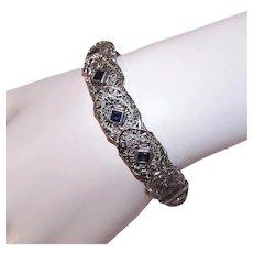 Art Deco Rhodium Filigree Blue Rhinestone Link Bracelet