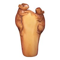 Vintage Made in Japan Carved Wood Japanese Netsuke or Okimono | Two Mice on a Stump | Signed Piece