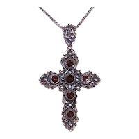 Vintage European 835 Silver Faceted Garnet Cross Pendant | Medieval Revival | Bohemian Garnets