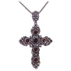 Vintage European 835 Silver Faceted Garnet Cross Pendant