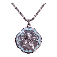 Sterling Silver Blue Enamel Religious Medal Pendant Charm | Our Lady of Perpetual Help | Saint Gerard