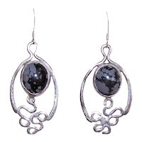 Sterling Silver Black Lace Agate Drop Earrings | Pierced Earrings