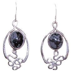 Sterling Silver Black Lace Agate Drop Earrings | Pierced Earrings