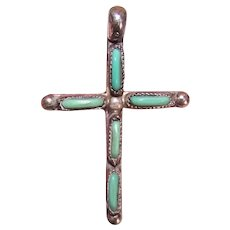 Native American Zuni Sterling Silver Petit Point Turquoise Cross Pendant