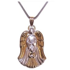 Gorham Sterling Silver Diamond Pendant | Guardian Angel with Child