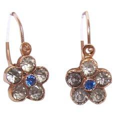 Antique Victorian 14K Gold Rhinestone American Dormeuse Pierced Earrings