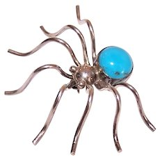 Native American Navajo Sterling Silver Turquoise Spider Pin