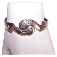 Sterling Silver Hinged Clamper Bracelet - Pair of Pelicans