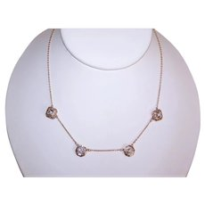 """Art Deco 14K Gold 15"""" Chain Necklace with .62CT TW Diamond Drops"""