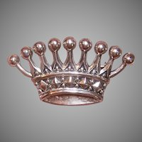 Vintage Sterling Silver Crown Pin
