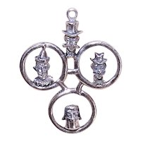 Large Sterling Silver Charm or Pendant - Circus Ringmaster, Clowns and Little Egypt