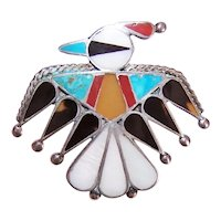 Native American Zuni Sterling Silver Inlaid Stone Pin - Thunderbird