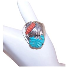 Signed Loyolita Tsatte Native American Zuni Sterling Silver Turquoise Red Coral Ring - Size 12