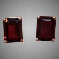 Vintage Retro Modern 14K Gold 3CT TW Garnet Pierced Earrings