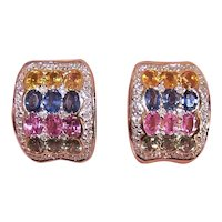 14K Gold 4CT TW Multi Color Tourmaline Sapphire and Diamond Omega Back Pierced Earrings