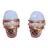 William Lam & Co 14K Gold .20CT TW Diamond Chalcedony J Hoop Earrings