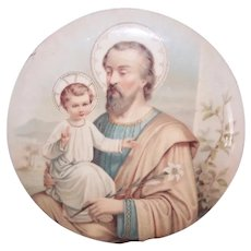 Antique Tin Flue Cover | Celluloid Image of Saint Joseph and Infant Jesus | Pale Pastel Tones