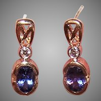 Estate 14K Gold .75CT TW Diamond Tanzanite Earrings