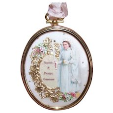 Antique Victorian First Communion Die Cut (Young Girl) in Retro Modern Concave Glass Travel Frame