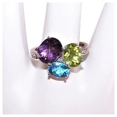 Sterling SIlver Amethyst Peridot and Blue Topaz Fashion Ring